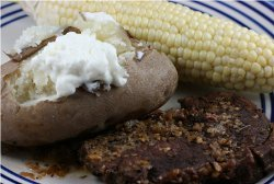 Layered Dinner: Steak, Potatoes, Corn on the Cob