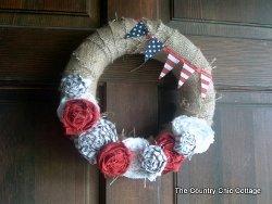 Patriotic Rose Door Wreath