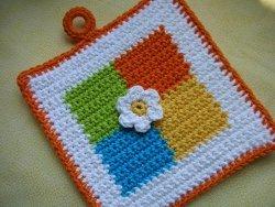 Colored Squares Potholder