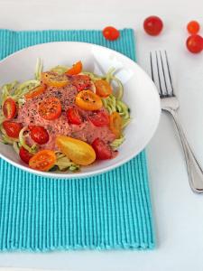Gluten Free Raw Zucchini Pasta with Creamy Tomato Sauce