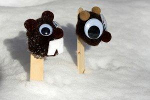 Punxsutawney Phil Pom Pom Puppets