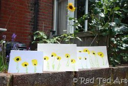 Fingerpaint Sunflower Thank You Cards