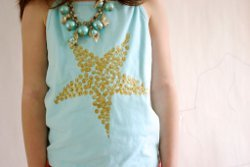 No Sew Glittery Starfish Top