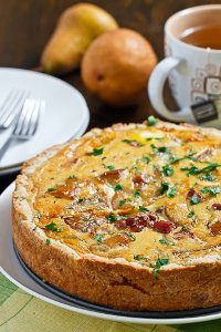 Caramelized Pear and Goat Cheese Quiche