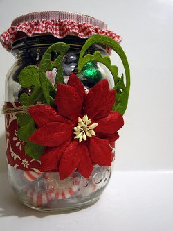Gorgeous Poinsettia Christmas Jar