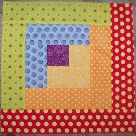 Rainbow Log Cabin Quilt Block