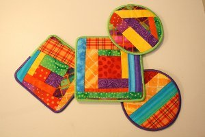 Colorful Log Cabin Quilt Coasters