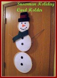 Embroidery Hoop Snowman Card Holder