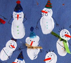 Fingerprint Snowmen Holiday Card