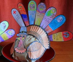 Thankful Turkey Paper Feathers