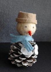 Felt Pine Cone Snowman