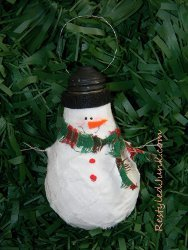 Recycled Lightbulb Snowman