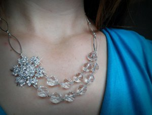 Sparkling Snowflake Beaded Necklace