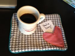 Mug Rug and Applique Heart Pocket