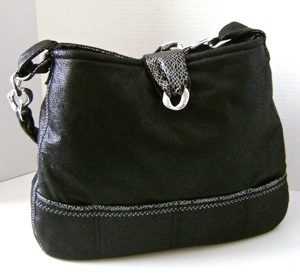 Faux Suede and Snakeskin Purse