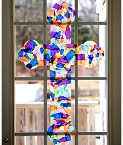 Easter Stained Glass Cross