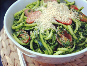 Spicy Kale Pesto with Zucchini Noodles