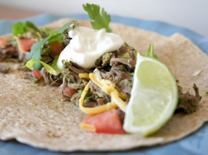 Tomatillo Beef Tacos