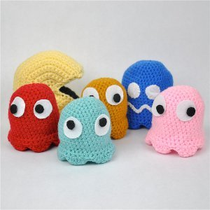 Cute Crocheted Pac Man and Ghosts