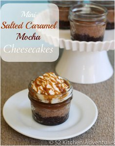 Slow Cooker Mini Salted Caramel Mocha Cheesecakes in Jars