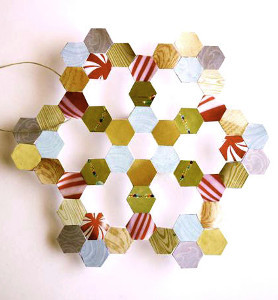 Hanging Hexagon Junk Mail Snowflake