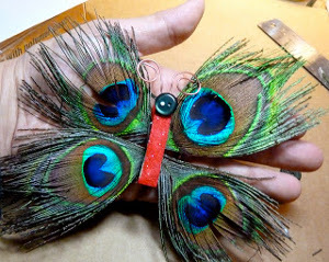 Funky Peacock Feather Butterfly Ornament