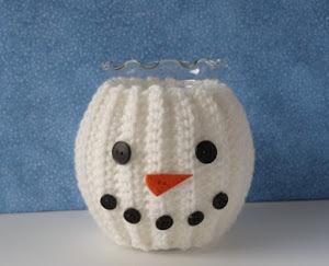 Crochet Snowman Jar Cozy