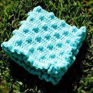 Aqua Polka Dots Baby Blanket