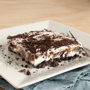 No Bake Chocolate Oreo Lasagna