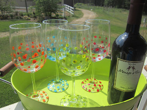 Polka Dot Wine Glasses
