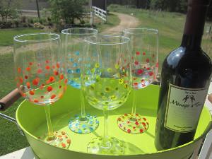 Polka Dot Wine Glasses