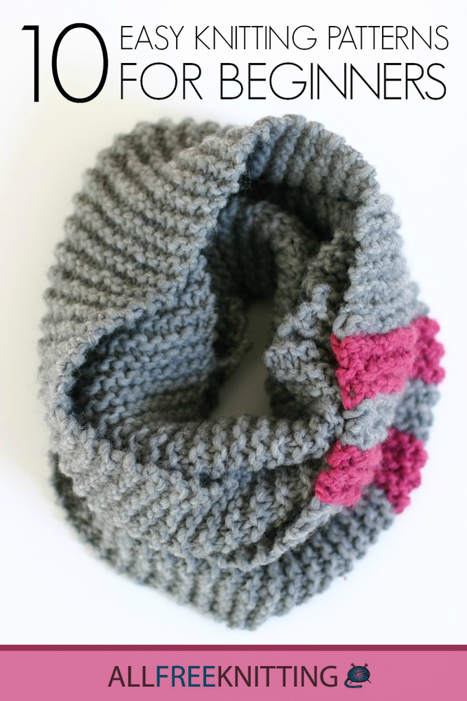 Easy Scarf Knitting Patterns For Beginners : 10 Easy Knitting Patterns for Beginners AllFreeKnitting.com