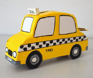 racing recycled taxi bank. Black Bedroom Furniture Sets. Home Design Ideas