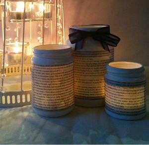Literary Jam Jar Tea Lights