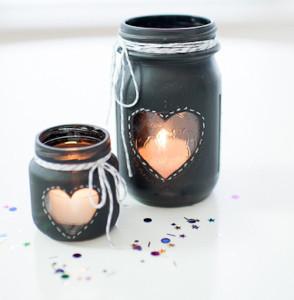 Chalkboard Mason Jar Candle Centerpiece