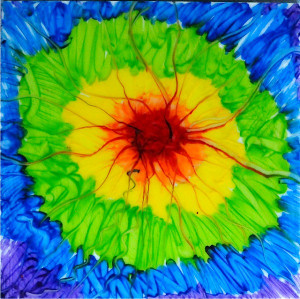 Color Burst Melted Crayon Art
