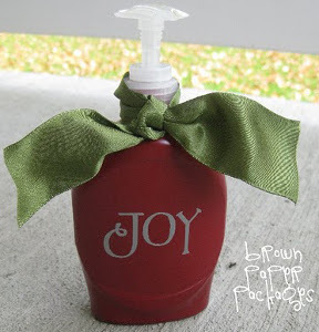 Painted Holiday Soap Bottles