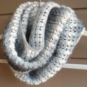 Free Knitting Pattern Mohair Cowl : Lace and Mohair Infinity Scarf AllFreeKnitting.com