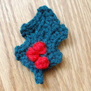 Easy Crocheted Holly Leaf