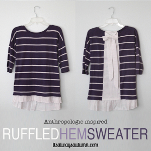 Thrifty Anthropologie Ruffled Hem Sweater