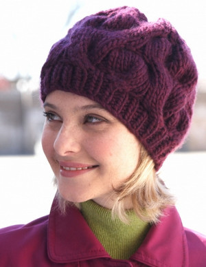Knitting Pattern Hat Straight Needles Free : Arctic Sunset Cable Hat AllFreeKnitting.com