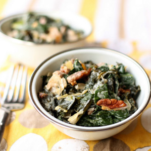 Creamy Mixed Greens with Pecans