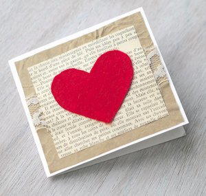 Felt Heart & Lace Card