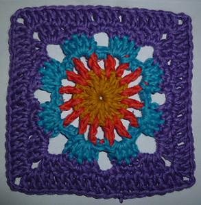 Blue Lotus Flower Crochet Square