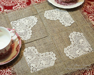 Burlap and Lace DIY Mug Rug
