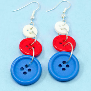 Red White and Buttons Earrings