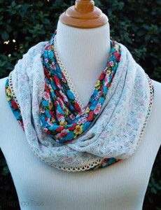 Flowers and Lace Infinity Scarf Pattern