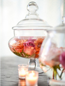 Exquisitely Romantic Floating Roses Centerpiece