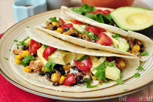 Slow Cooker Chicken and Black Bean Tacos | FaveHealthyRecipes.com