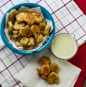 Fried Pickles with Buttermilk Lime Dressing